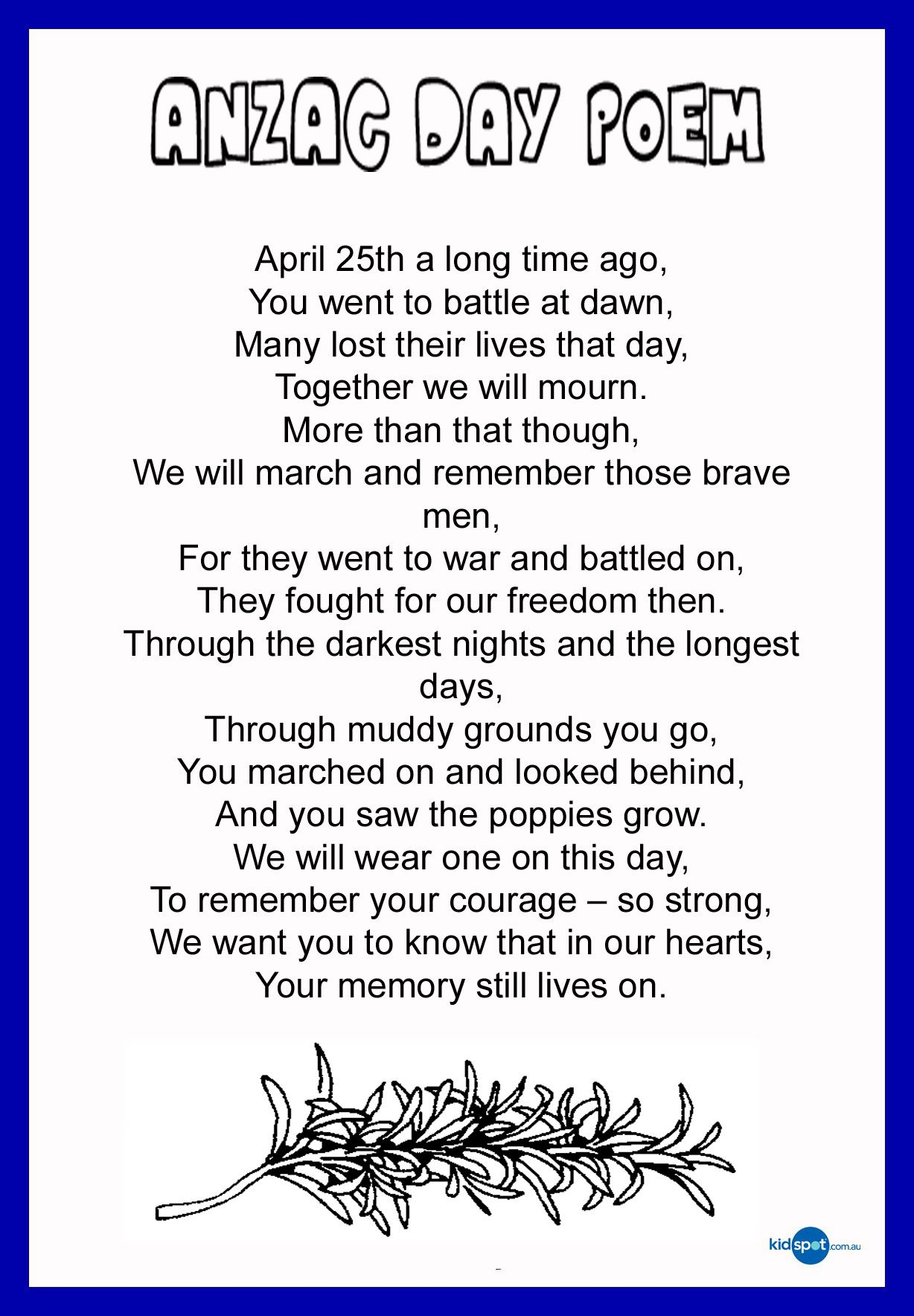 Thank A Digger Anzac Poems To Pass On