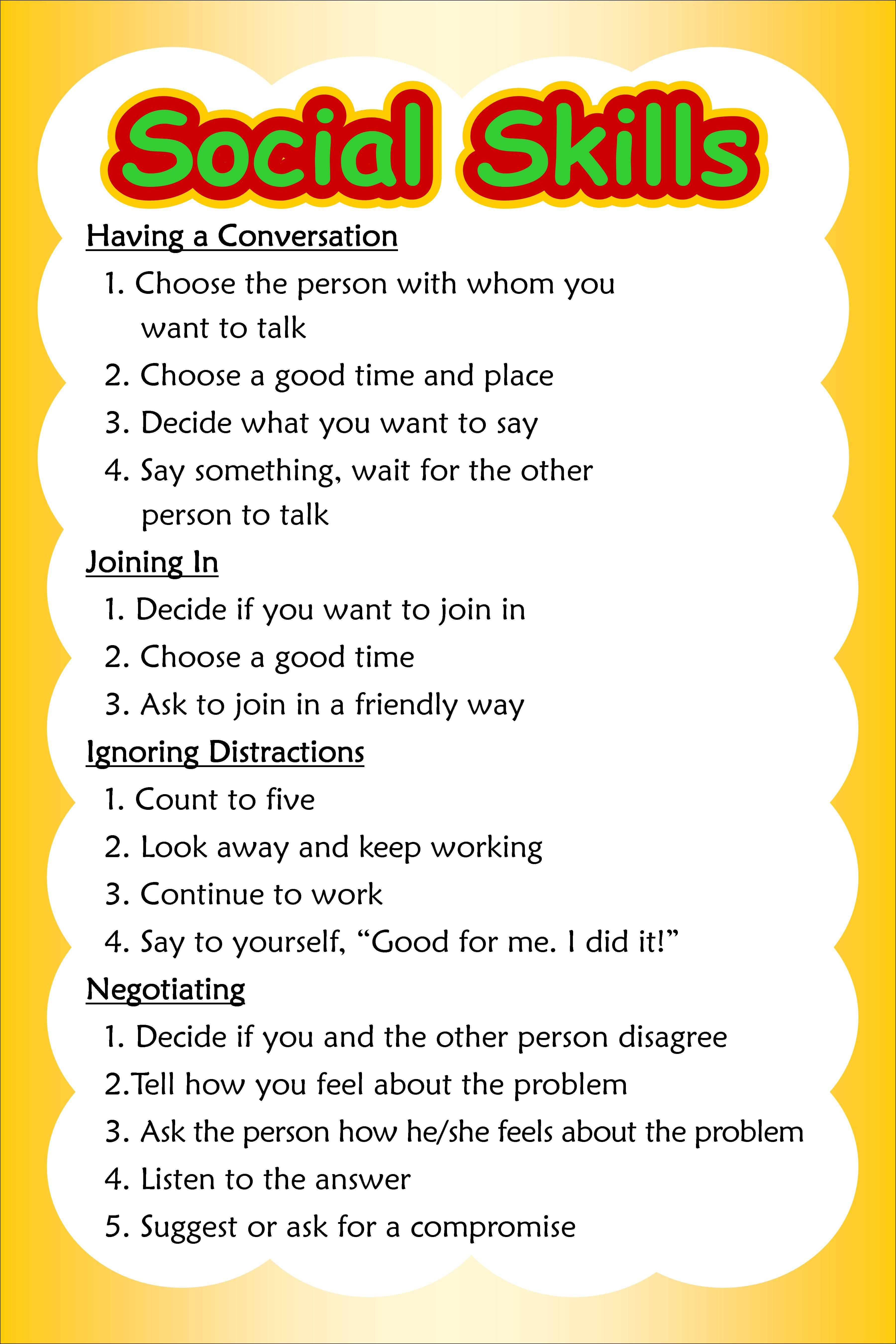 Appropriate Social Skills Worksheet