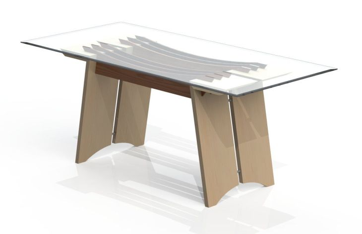 Equinox Coffee table Solid Maple split leg structures with polished