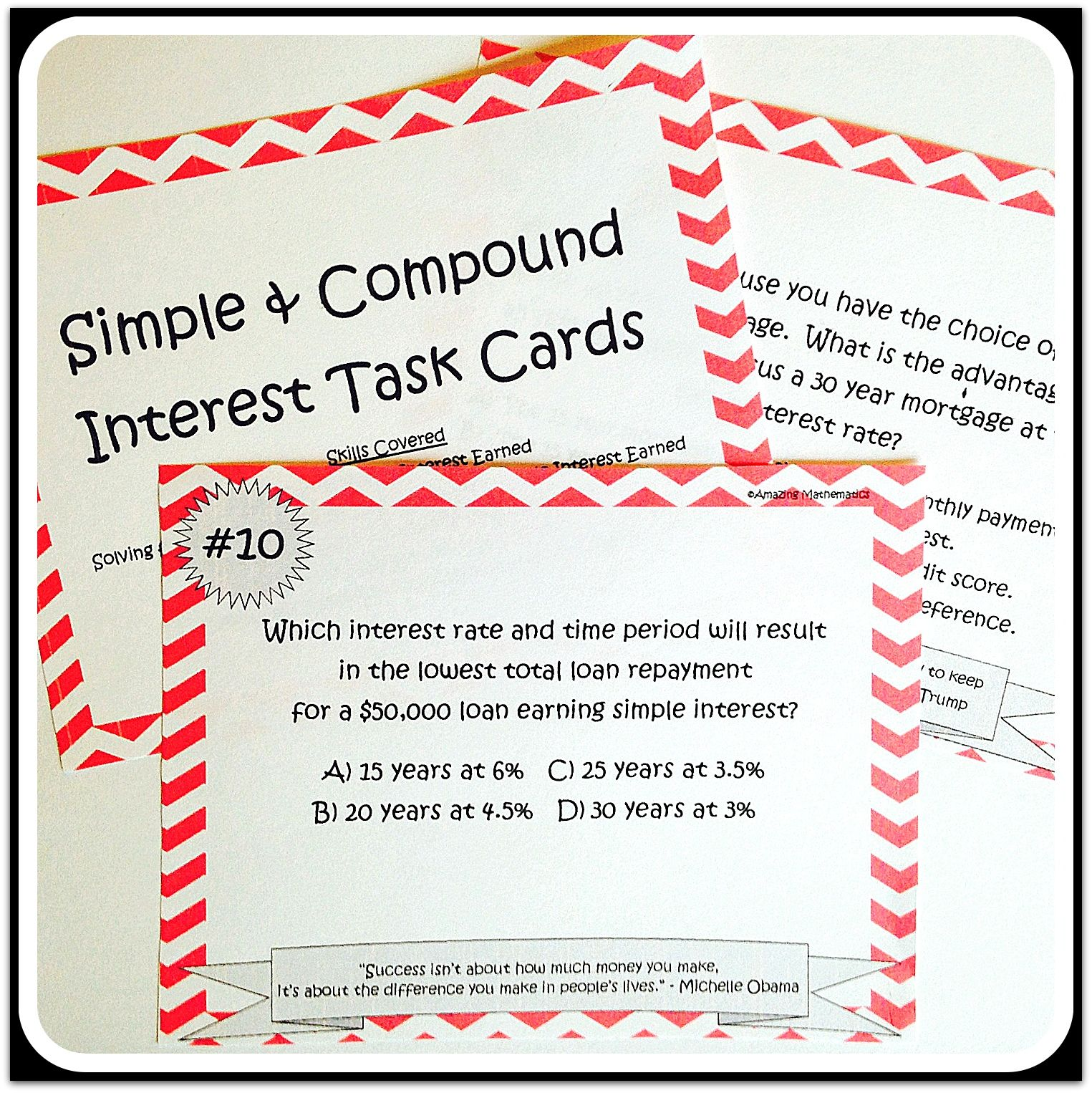 Simple Amp Compound Interest Task Cards
