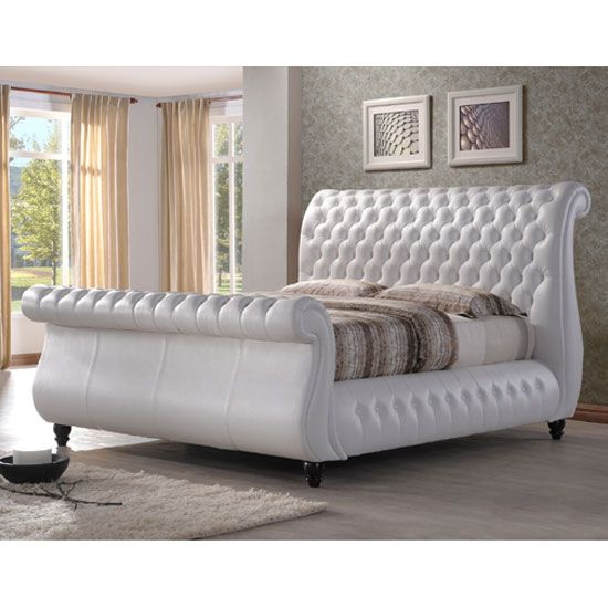 Sawn White Real Leather Finish Super King Size Bed
