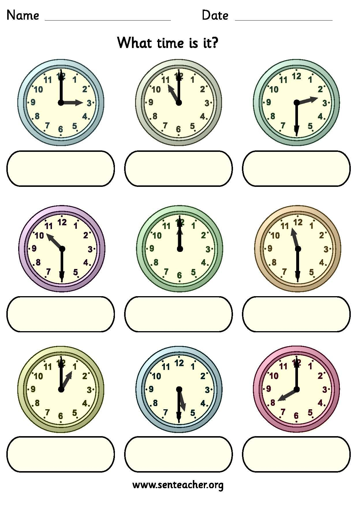 Worksheet Containing 9ogue Clocks Showing O Clock Or