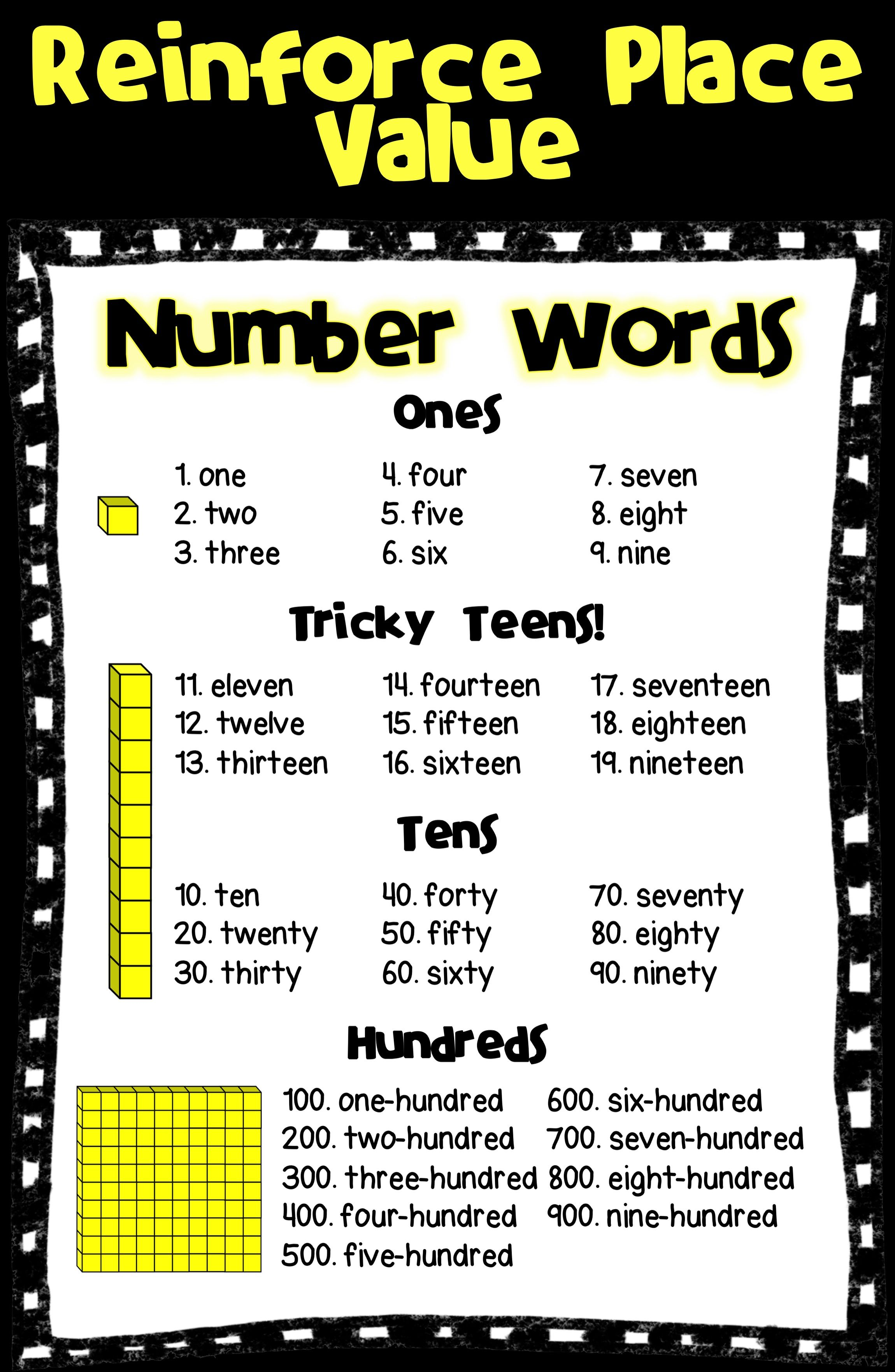 Number Words Place Value With Base 10 Blocks