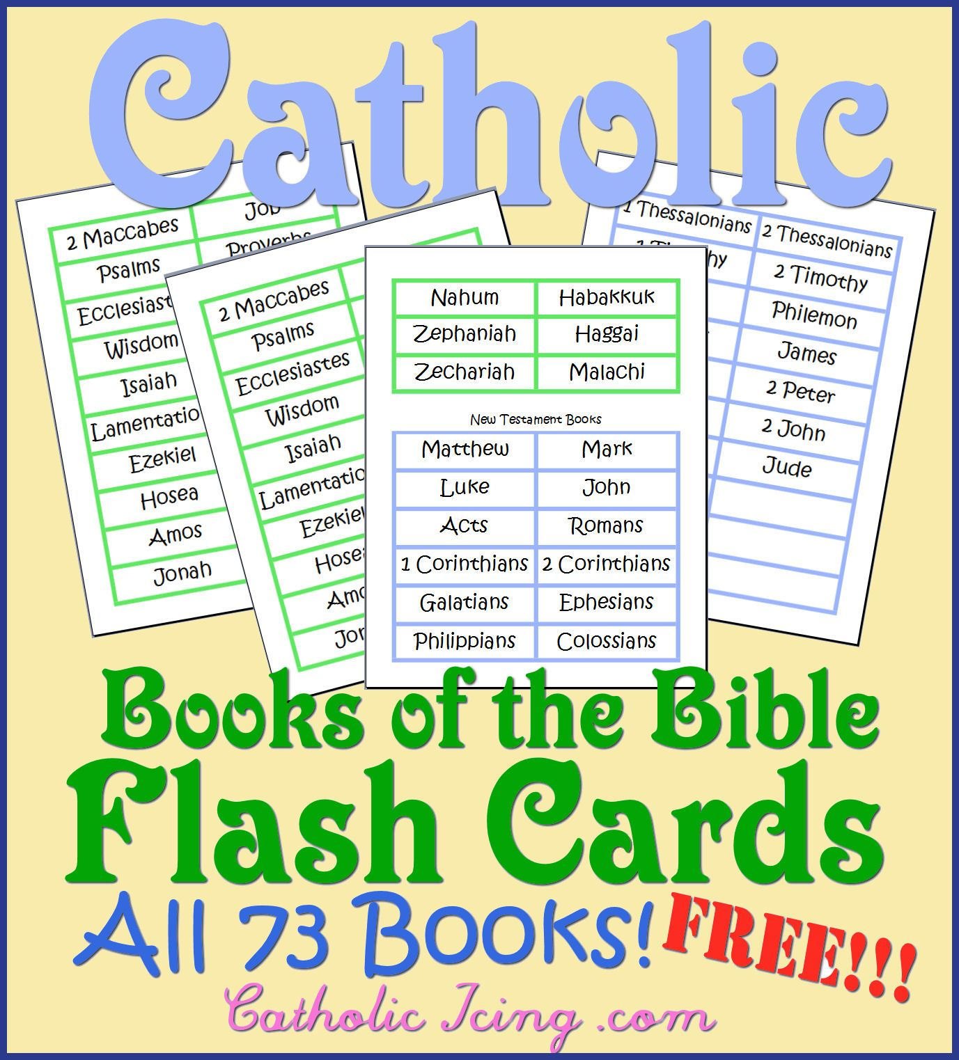 Cathoilc Books Of The Bible Flas Cards All 73 Books Free