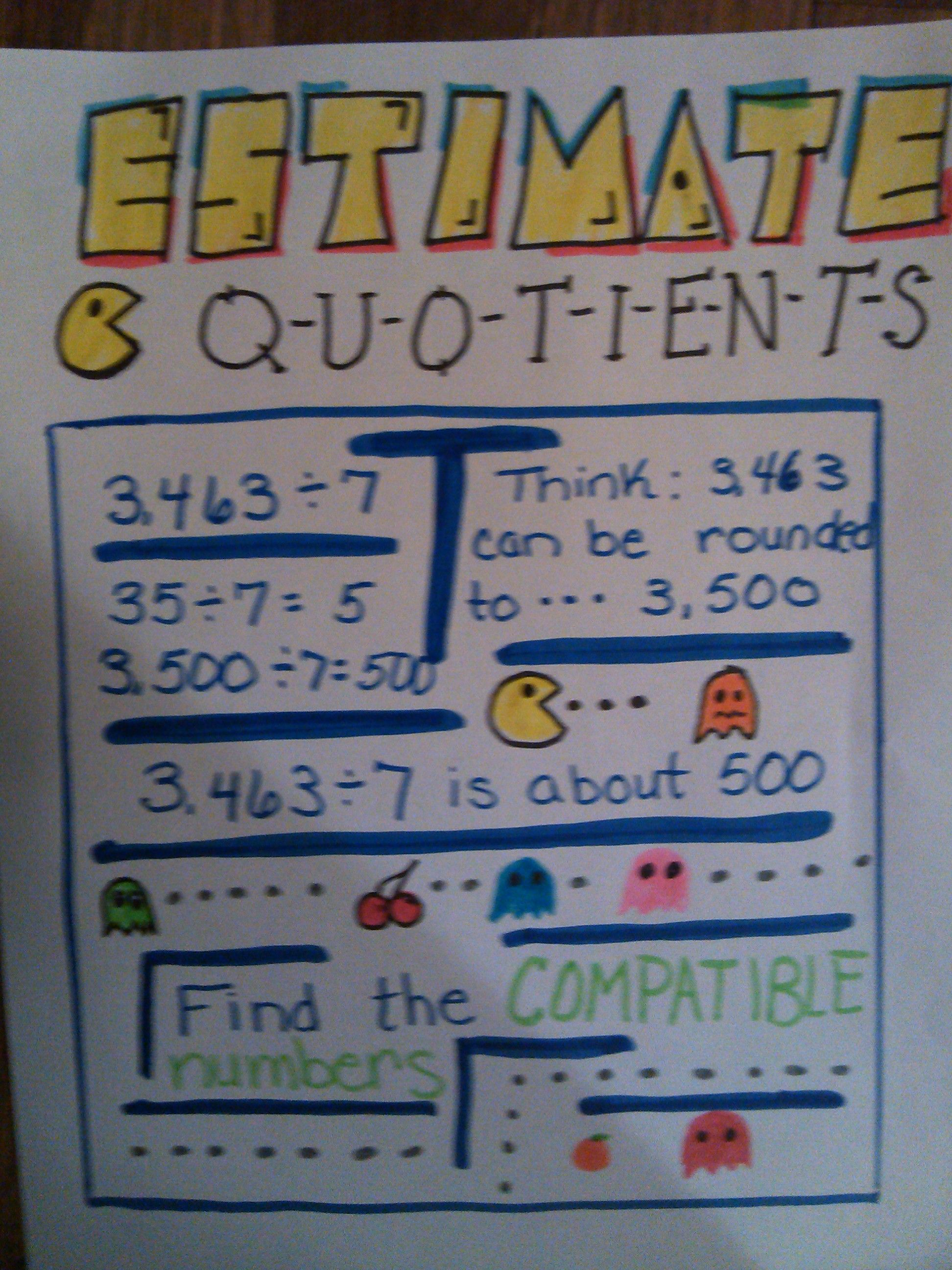 Estimate Quotients Anchor Chart