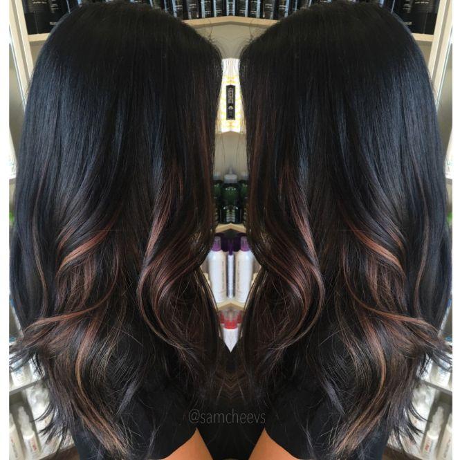 Dark maroon highlights on black hair the best black hair 2017 best 25 black hair with highlights ideas on pmusecretfo Choice Image