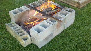 simple temporary cinder block fire pit | Cinder Block Yard ... on Simple Cinder Block Fireplace id=64063