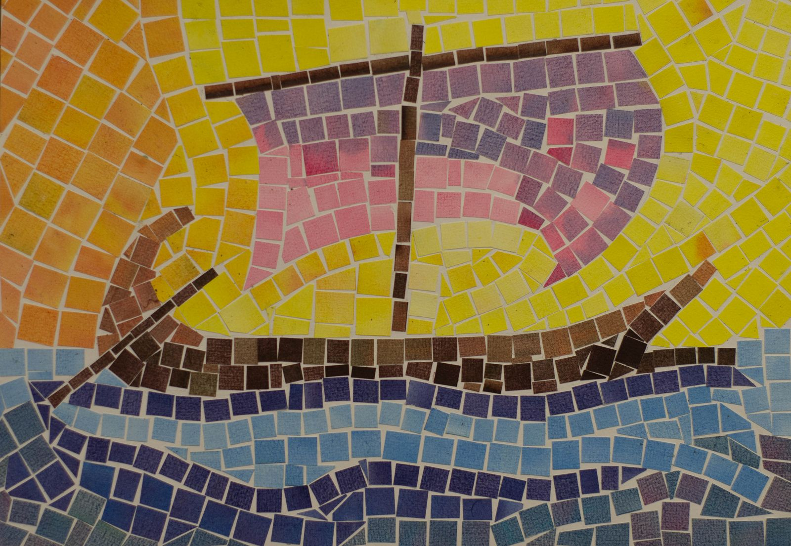 5th Grade Art Ancient History And Mythology Greece Colored Paper Mosaic The Argo