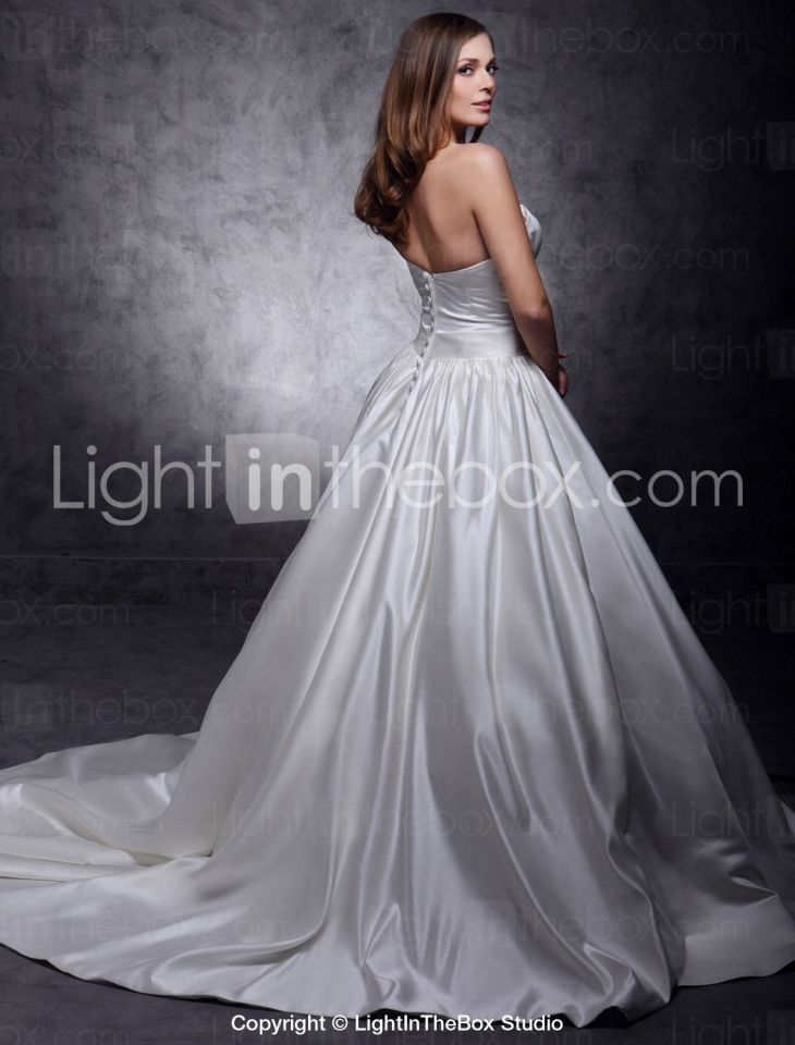 Princess Strapless Chapel Train Satin Wedding Dress with Sash