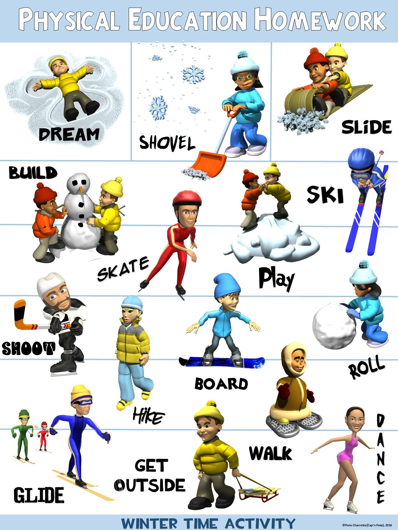 Pe Poster Physical Education Homework Winter Version