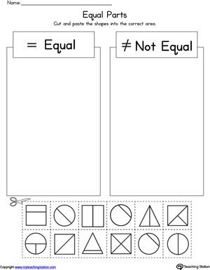 Shape Equal Parts Worksheet