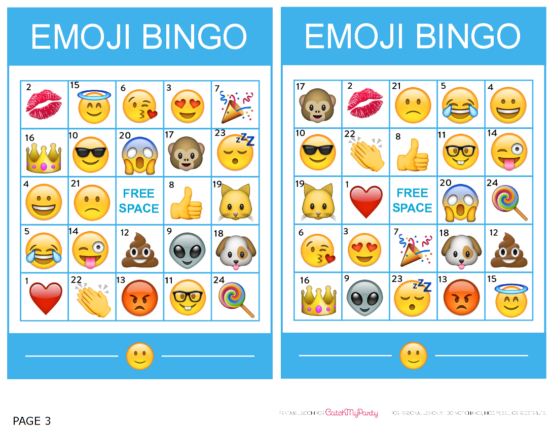Catchmyparty Blog Free Printable Emoji Bingo