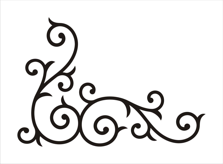 Wrought Iron Corner Swirl Medium By Abbysvinylwallart On