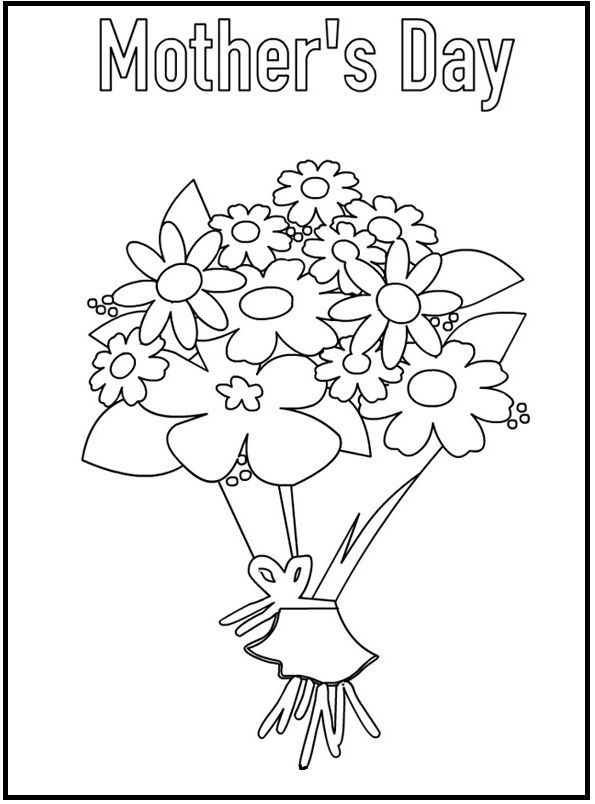 Bouquet For Mother's Day coloring picture for kids ...