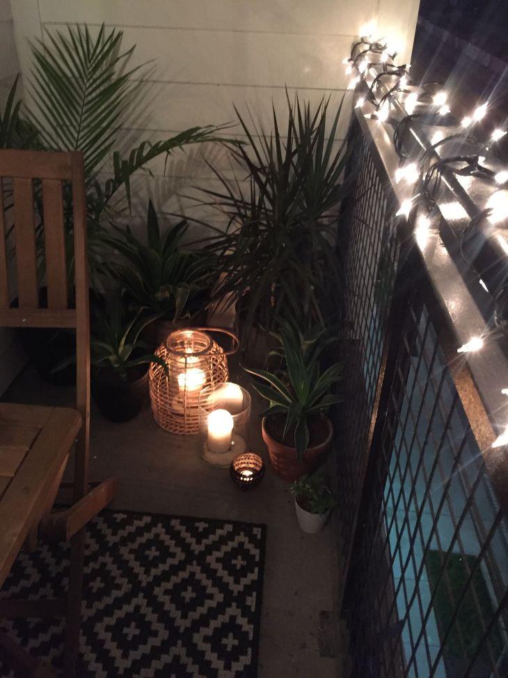 Plants and lanterns small apartment balcony decor ideas balcony