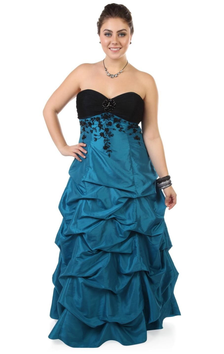 Deb shops plus size beaded long prom dress with ball gown skirt ...