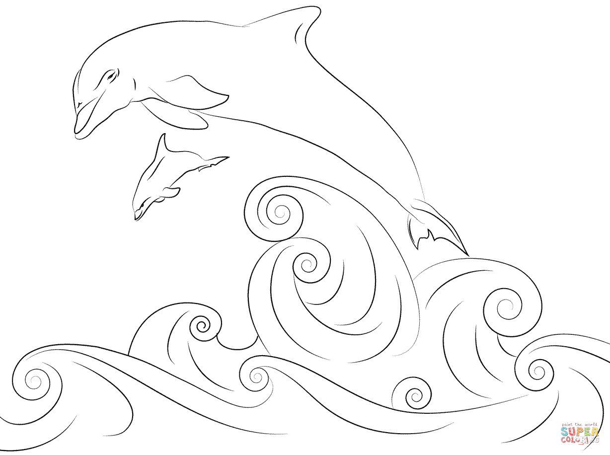 Dolphins Jumping Out Water Coloring Pages 916