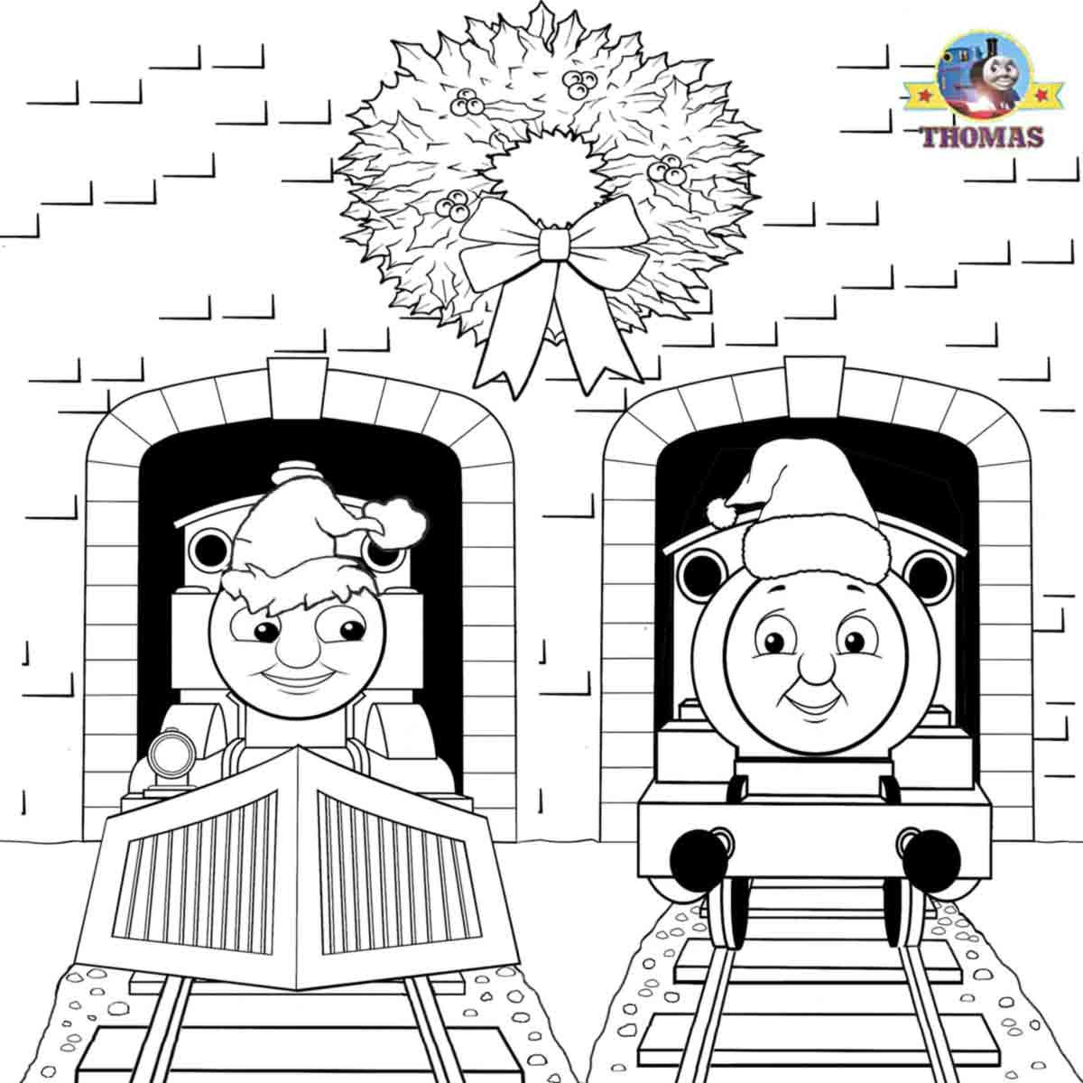 Santa Hat Coloring Page Train Thomas The Tank Engine