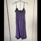 Lace dress purple  Womenus Vintage slip dress  Black laces Silk and Lace dress