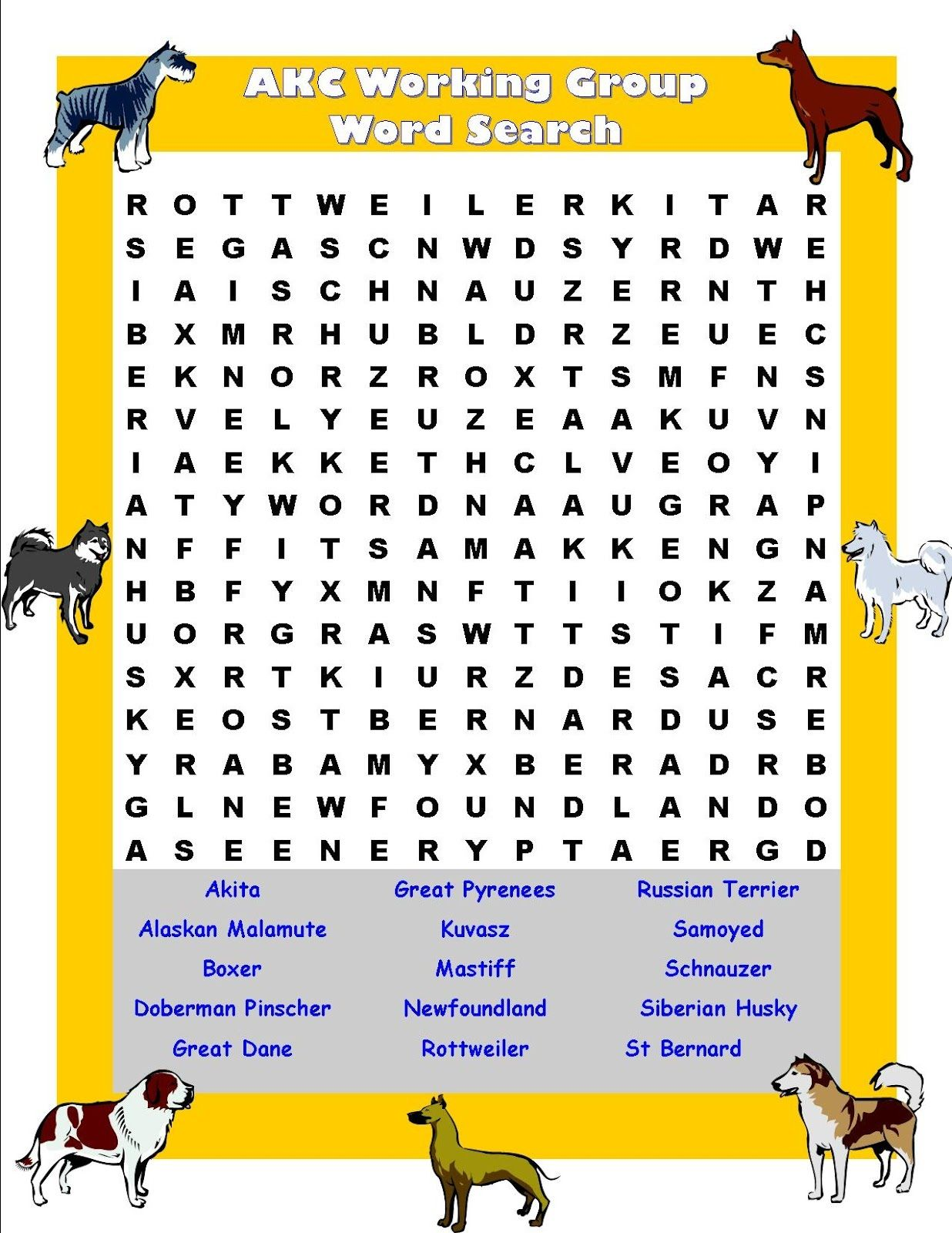 Akc Working Group Word Search For Dog Lovers