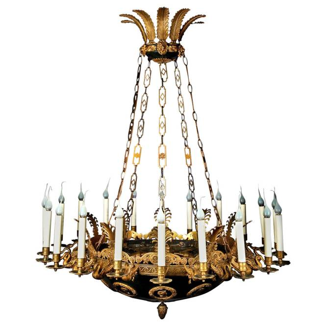 Impressive And Large Antique French Empire Gilt Patina Bronze Chandelier