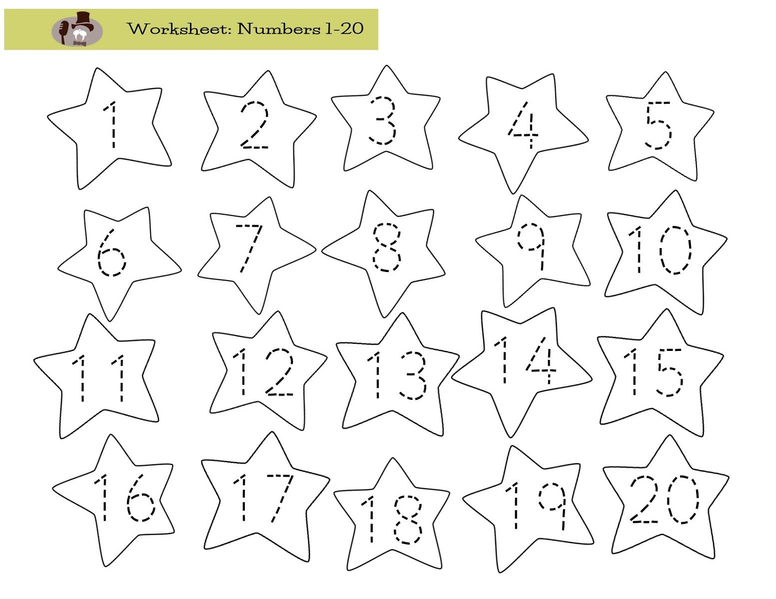 Trace Numbers 1 20 For Numbering Lesson