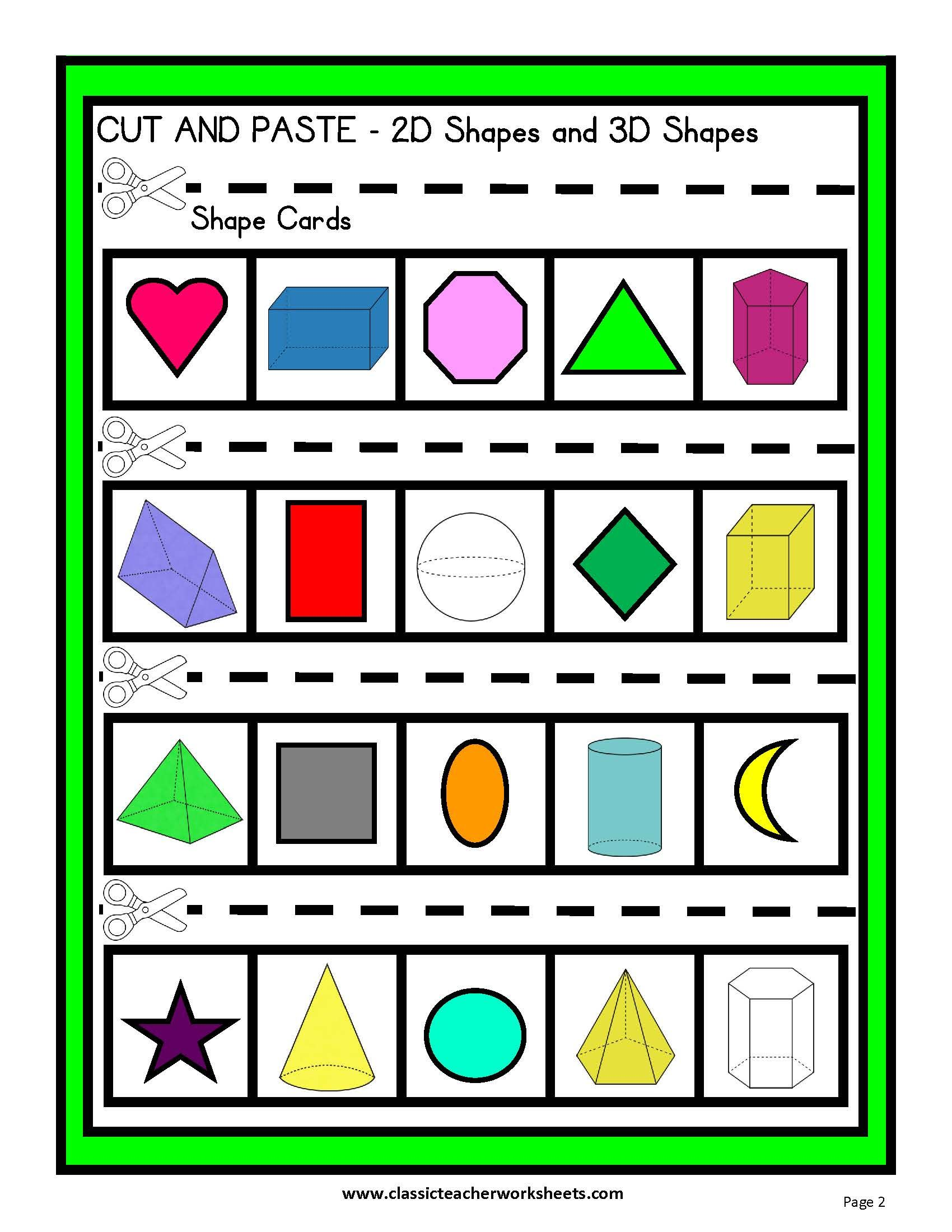 3d Shapes Cut And Paste Worksheet
