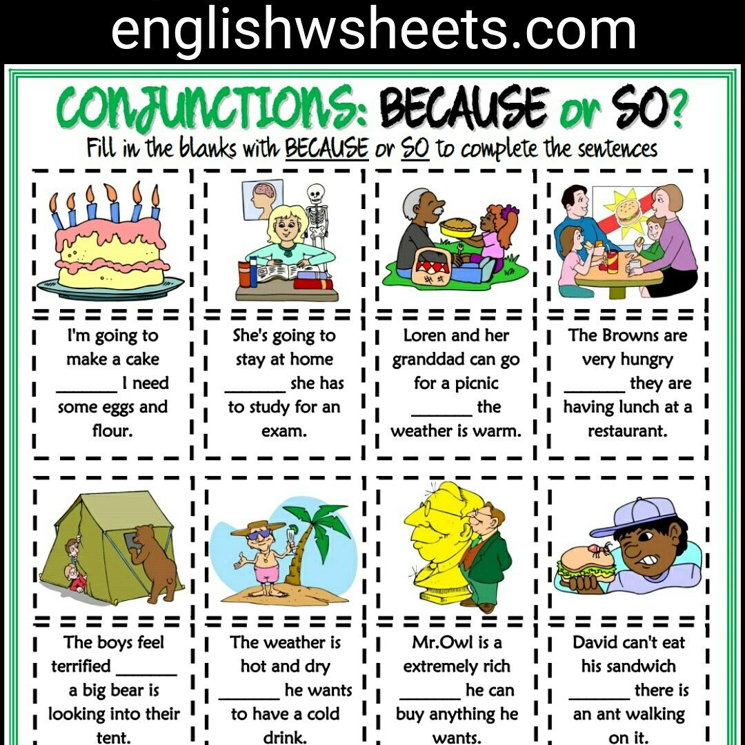 Because Or So Esl Printable Grammar Exercise Worksheet For Kids Conjunctions Becauseso Esl