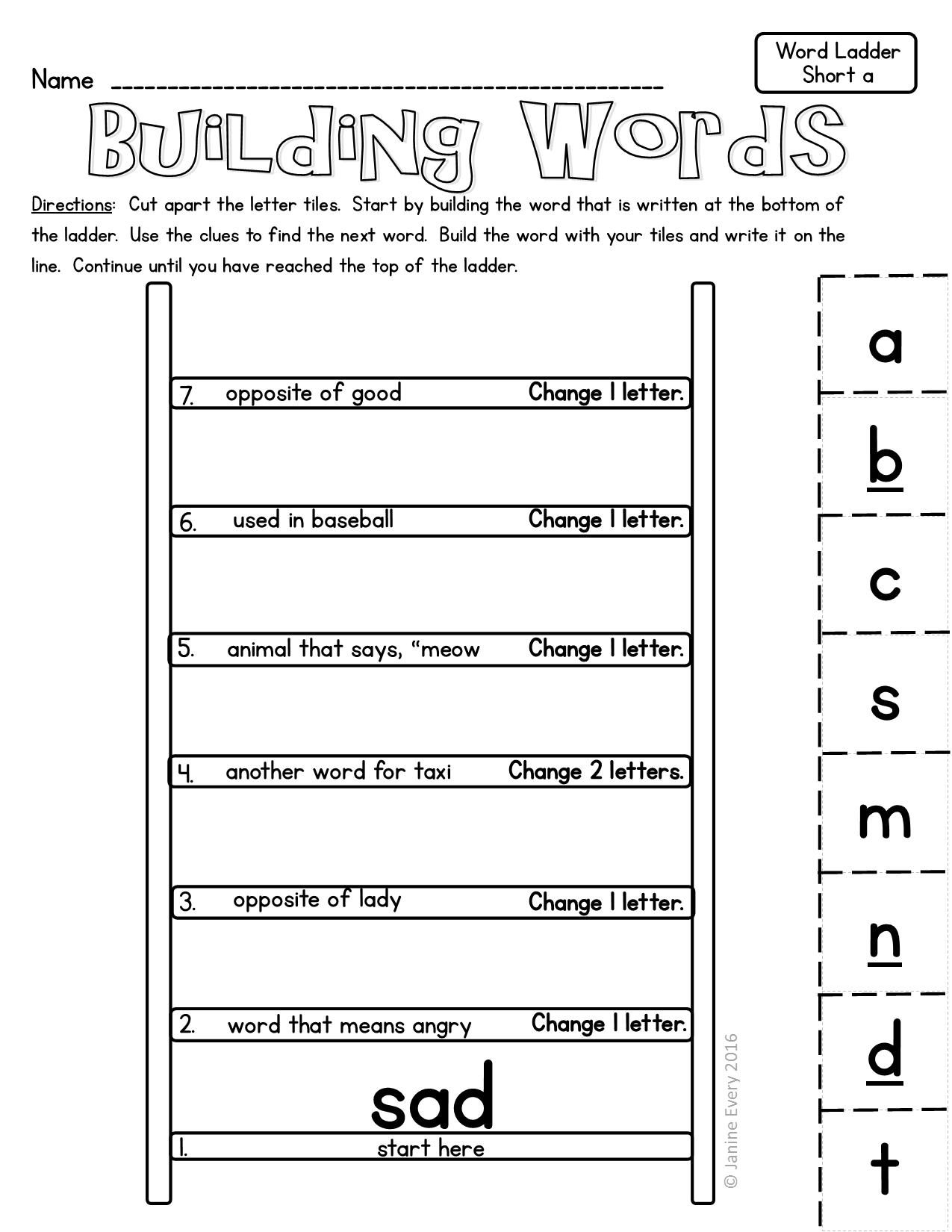 Word Ladders Hands On Printable Word Puzzles