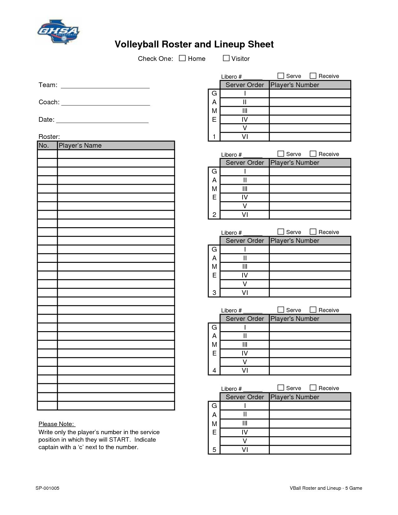 Blank Volleyball Lineup Sheets Printable