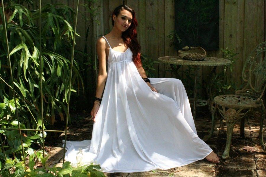 Grecian Goddess Bridal Nightgown Wedding Lingerie White