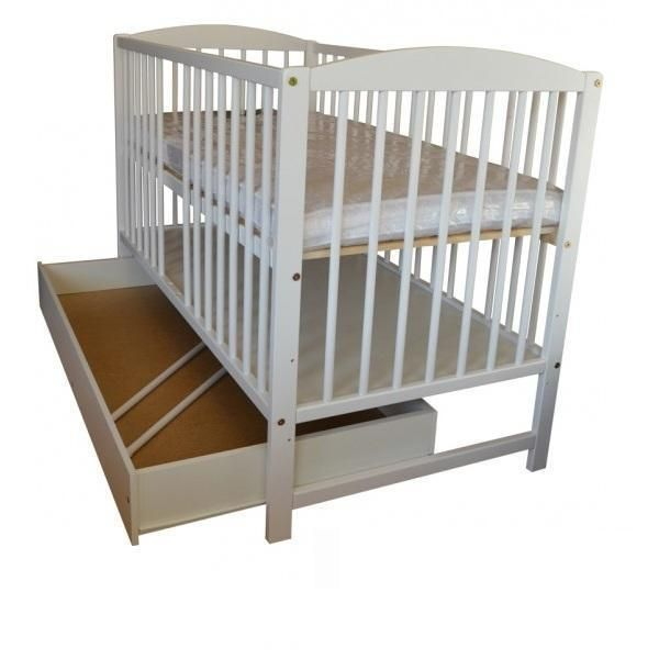 Classic Wooden White Baby Cot With Drawer And Free Mattress L120 W60cm
