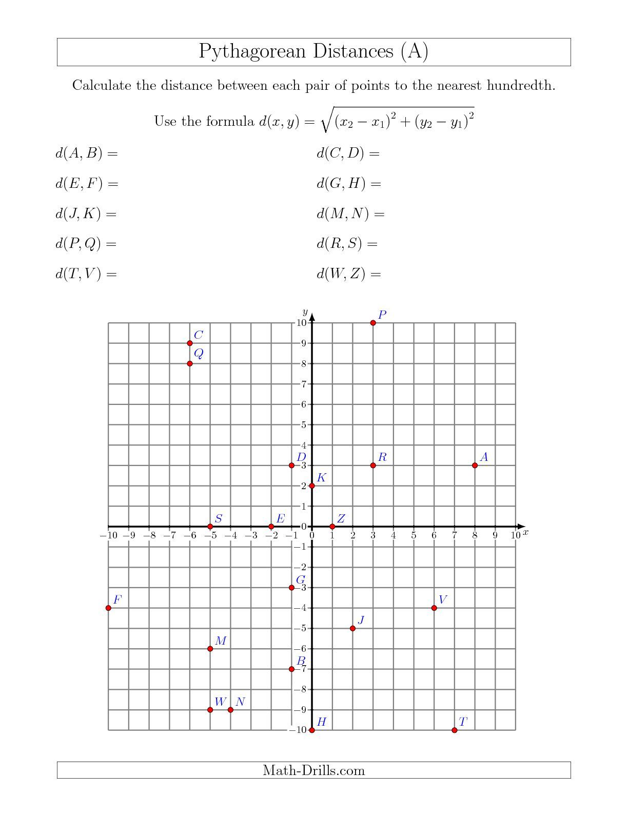 Calculating The Distance Between Two Points Using Pythagorean Theorem A Math Worksheet
