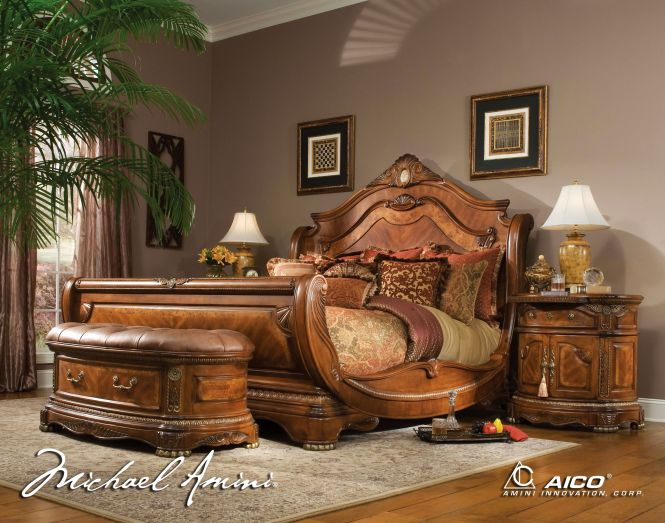 Bed Sets Cortina California King Size Bedroom Set In Honey Walnut