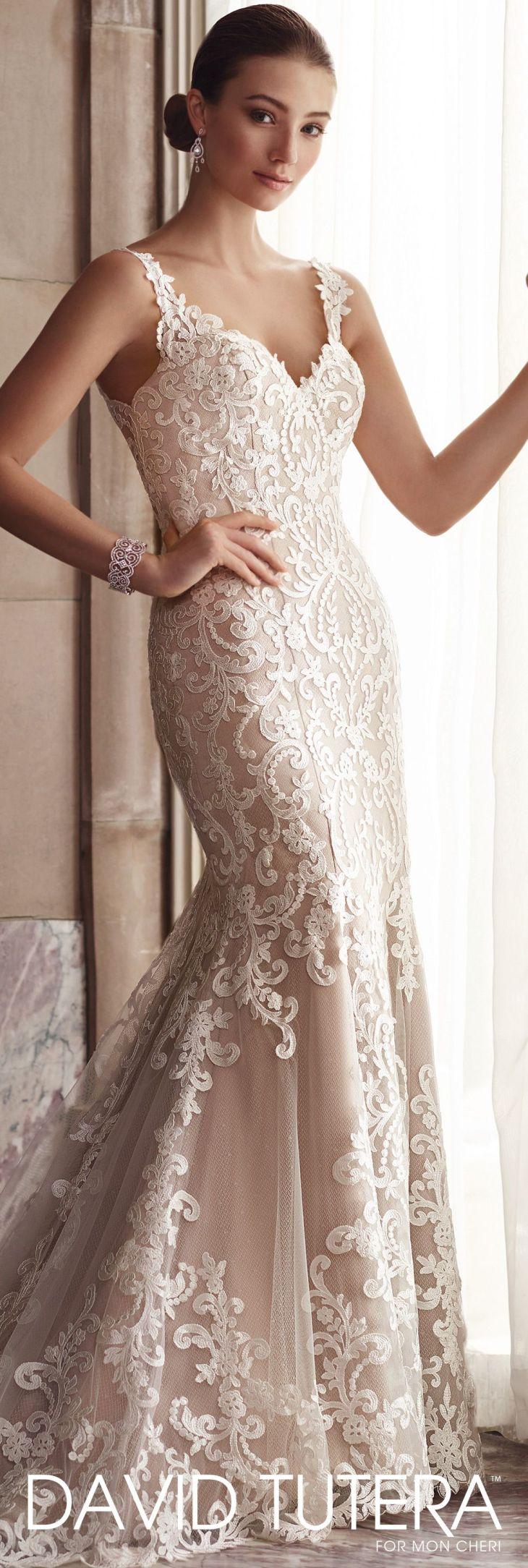 Sleeveless Fit u Flare Lace Wedding Dress  Amber  David