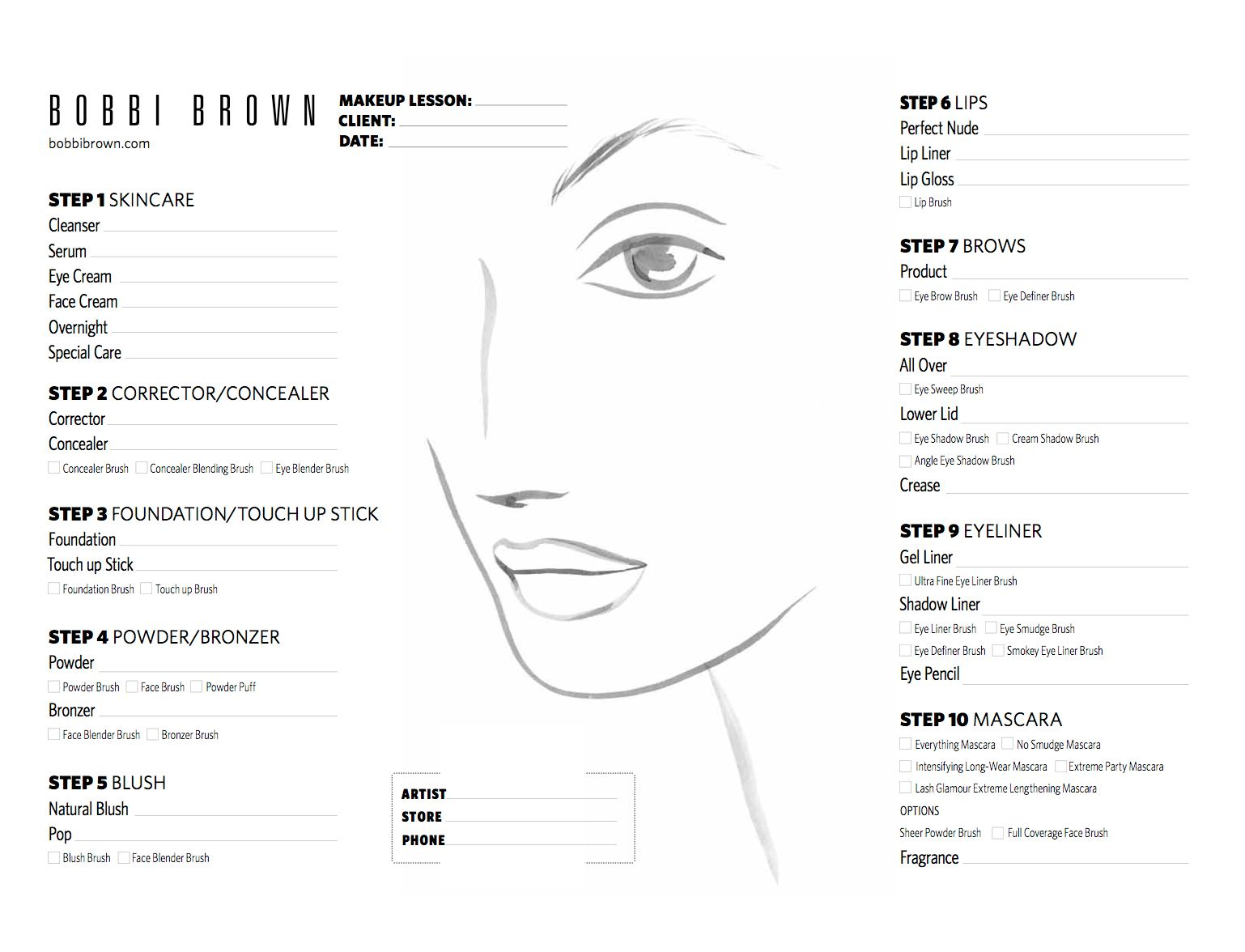 Bobbi Brown Face Chart