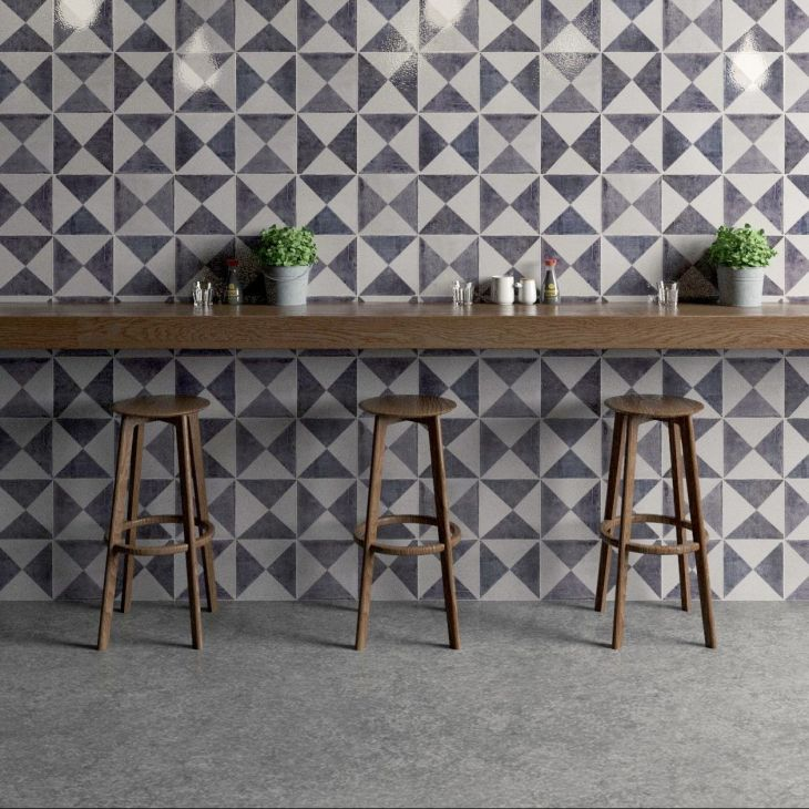 Gorgeous grey geometric tiles by Bert u May as seen on Beautiful