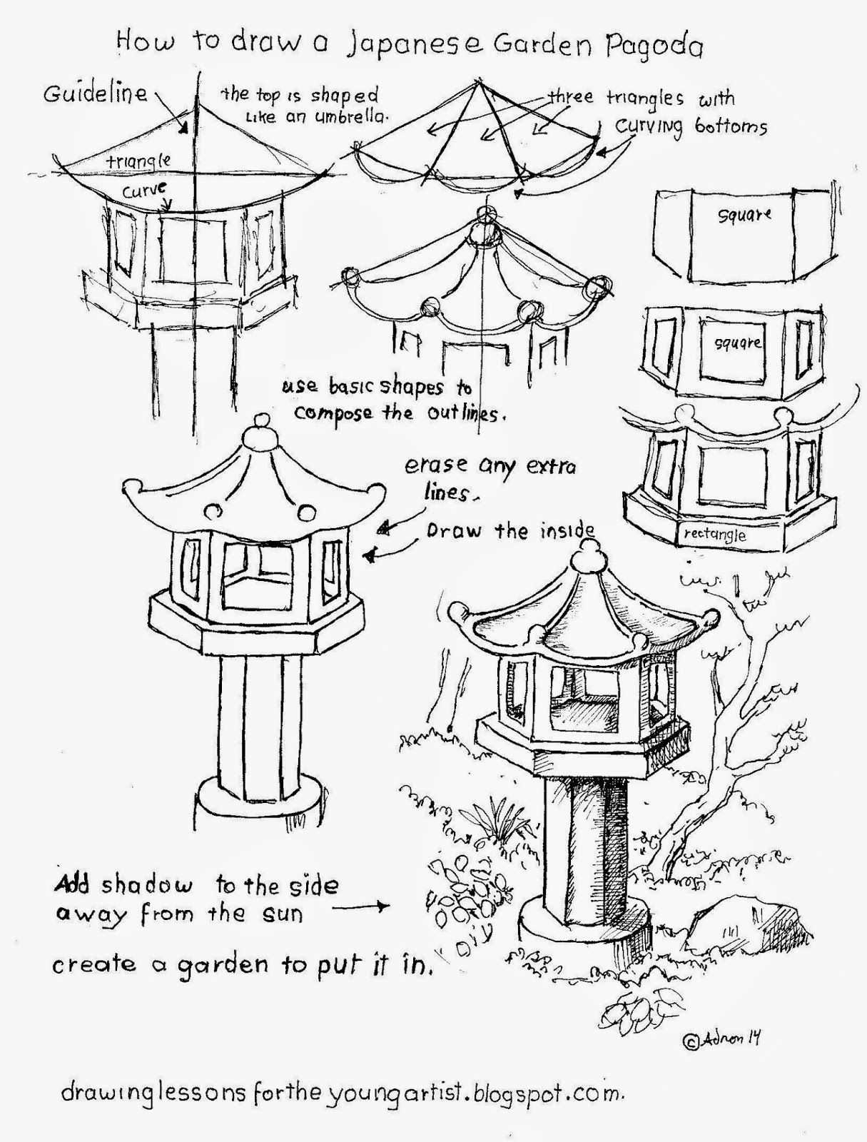 How To Draw A Garden Pagoda Worksheet See More At My