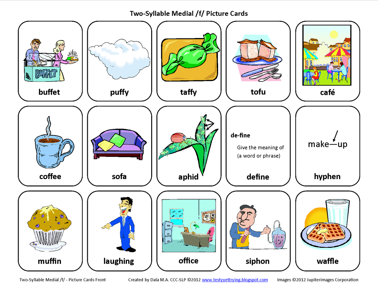 Medial F Free Speech Therapy Articulation Picture Cards From Testy Yet Trying Pinned By Sos