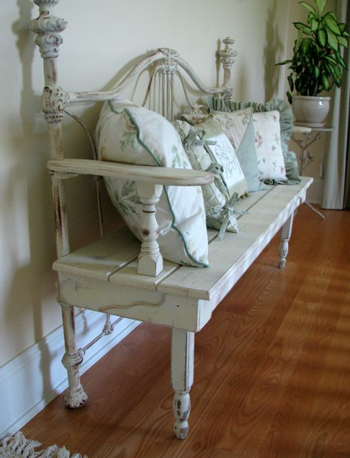 Bench Made From An Antique Bed Frame Repurposed
