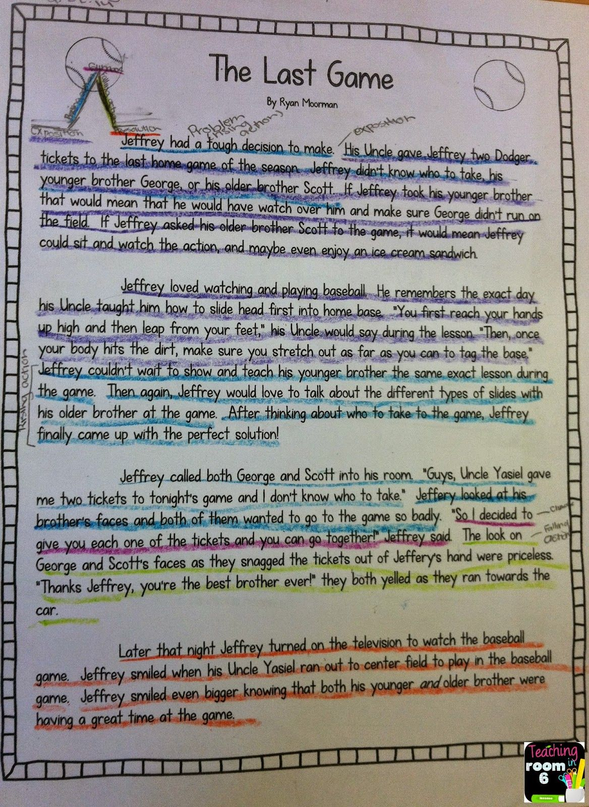 Short Story Coded For Each Element Of The Story Plot You
