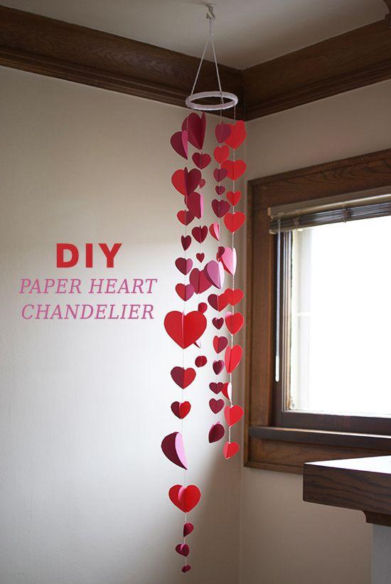 DIY Paper Heart Chandelier Valentines Day Decor