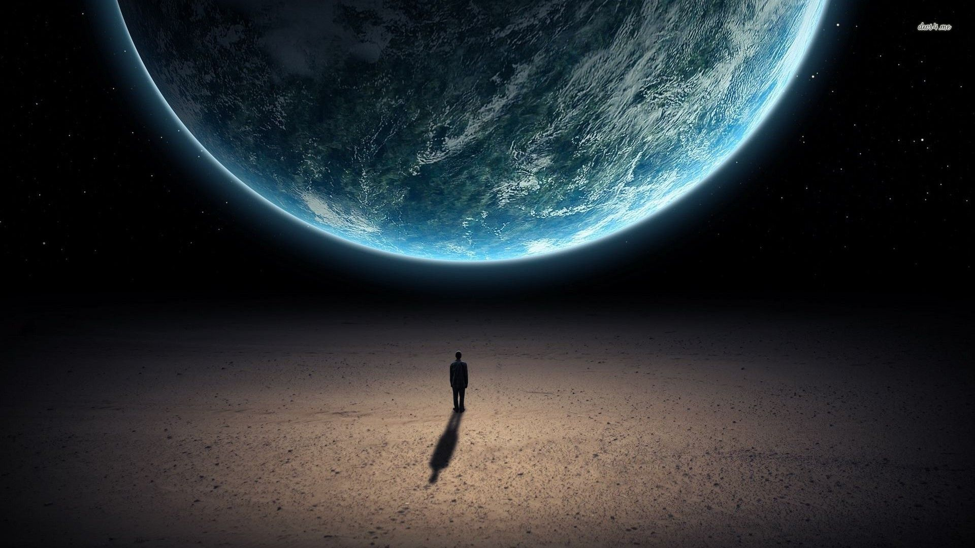 Man Looking At Earth From Space Wallpaper