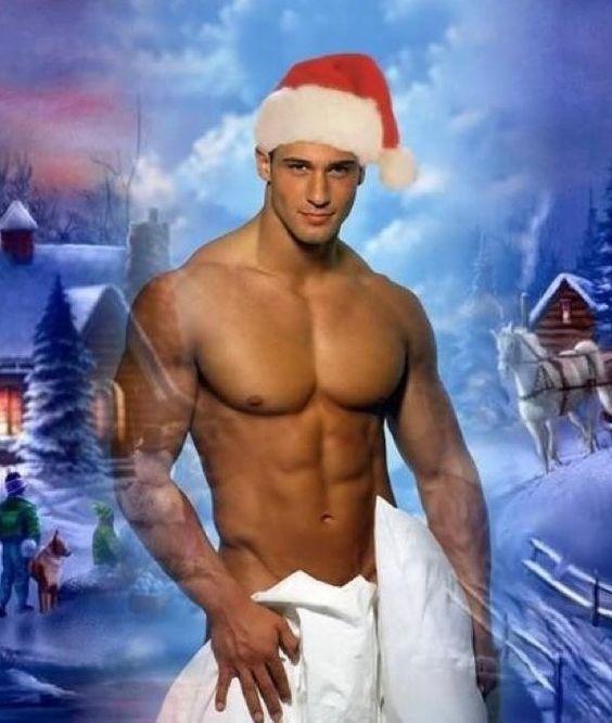 Shirtless Hunk In Santa Hat Christmas Hunks Pinterest