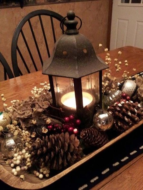 dough bowl  pine cone  lantern centerpiece  Vintage Christmas     dough bowl  pine cone  lantern centerpiece  Vintage Christmas Decorating  Ideas   Christmas Celebrations