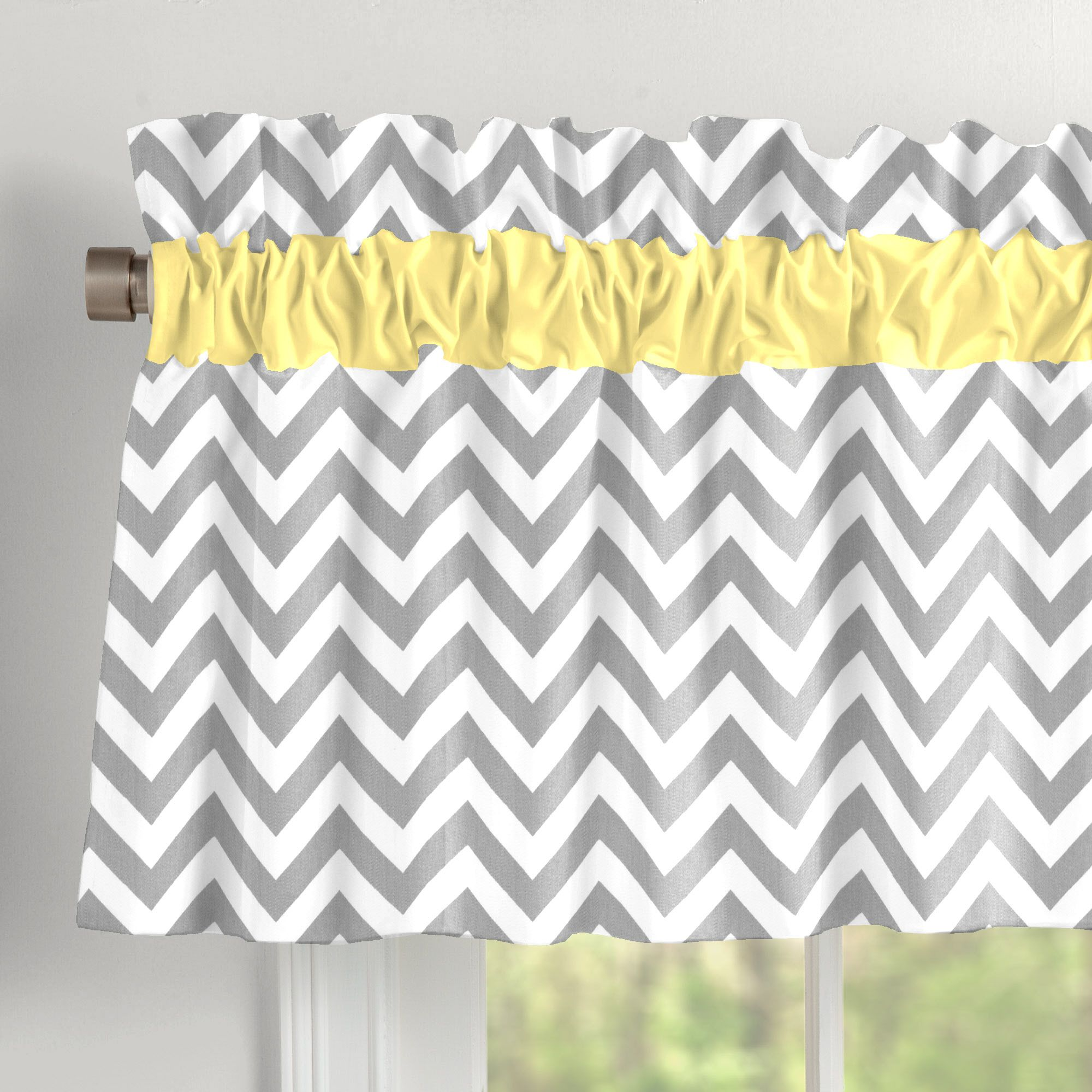 Gray And Yellow Zig Zag Window Valance Rod Pocket