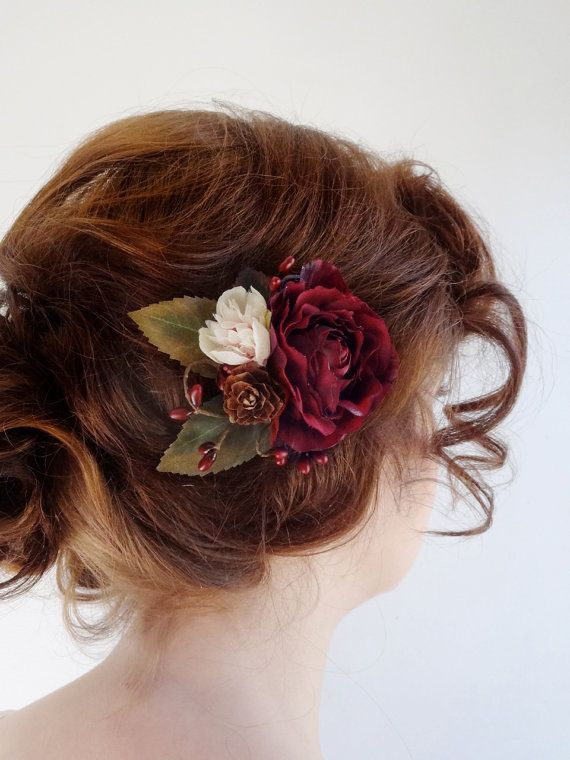 Burgundy Hair Accessory Bridal Hair Clip Burgundy Flower