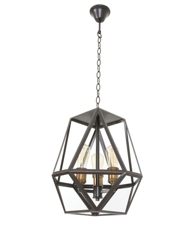 Beacon Lighting Vaille 3 Light Pendant In Oil Rubbed Bronze With Copper Lamp Holders