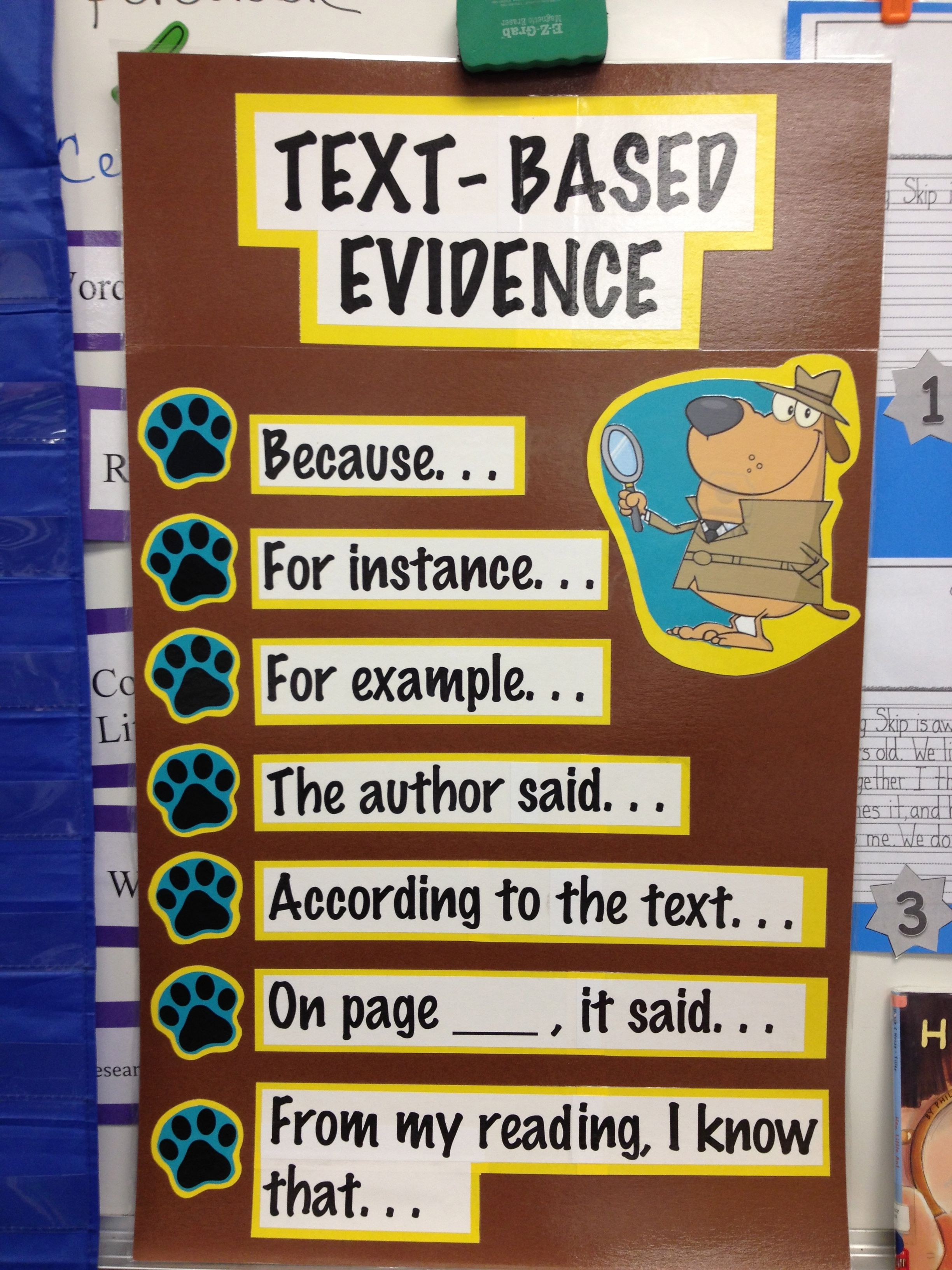 Text Based Evidence Sentence Frames Our First Grade