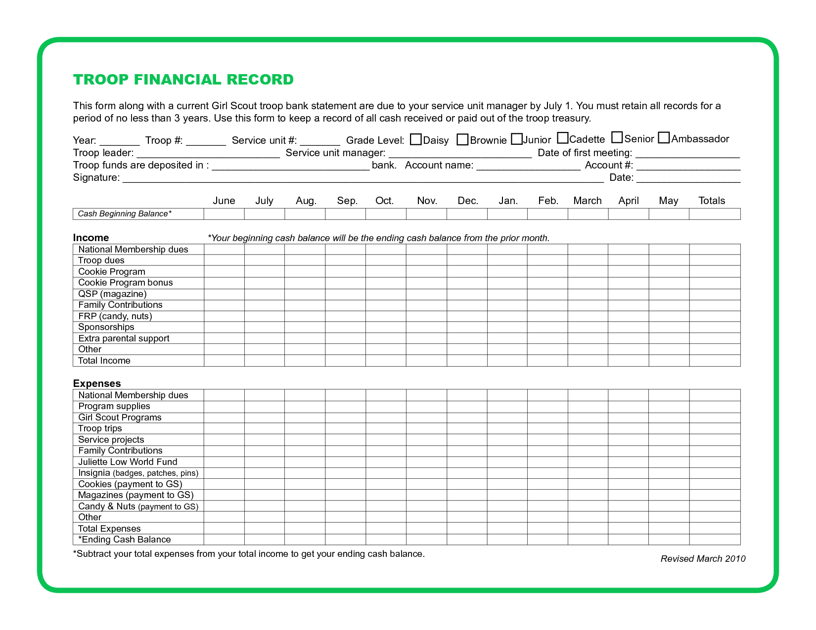 Daisy Girl Scout Record Sheet